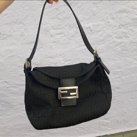 Fendi handbag black and silver hardware